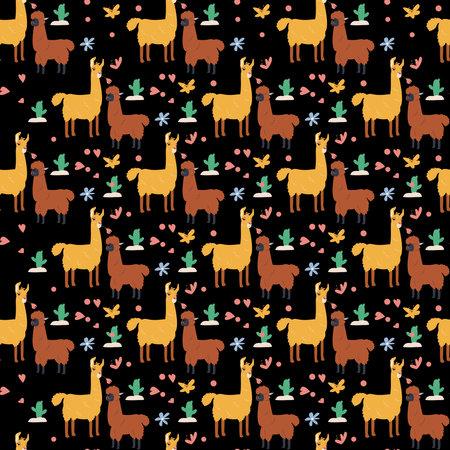 Llama Seamless Pattern Design Vector Illustration.
