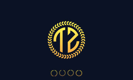 Organization Rounded Initial Letters TZ logo. Vector illustration