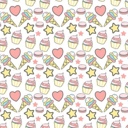 ice Cream and love Seamless Pattern Design Vector Illustration. Ilustrace