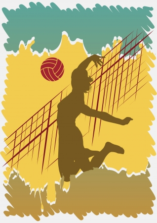 action girl: Volleyball poster Illustration