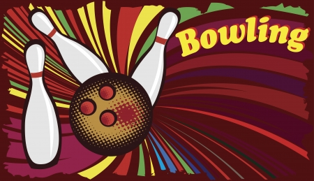Abstract banner for bowling hall with colorful splash Stock Vector - 21948663