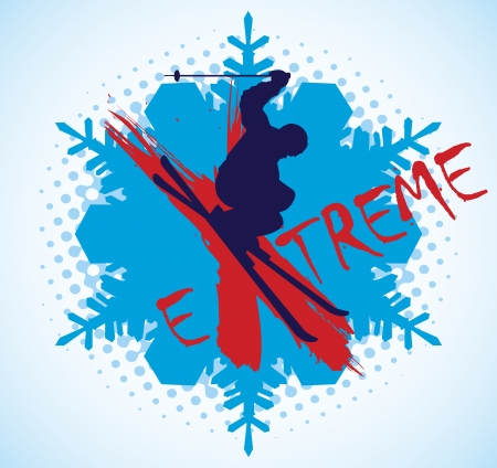 Extreme skiing Vector