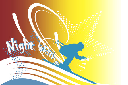 Night skiing Vector