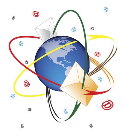 Mail orbit illustration  Illustration