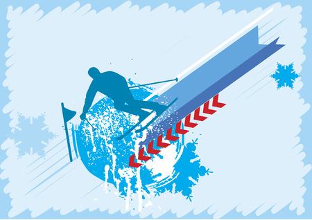Mountainside: Niebieskie tło dla narciarzy Ilustracja