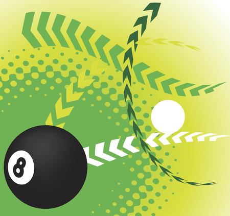 poolball: Black and white Illustration