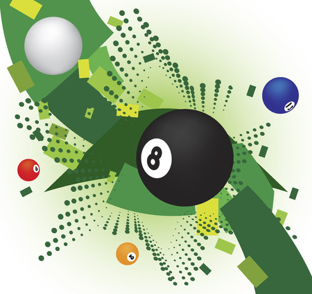 poolball: Abstract billiard banner with green star