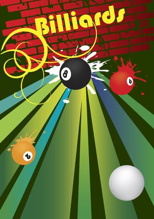 poolball: Abstract billiard banner .Vector illistration.