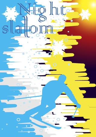 Mountainside: Nocny slalom poster.Vector ilustracji.