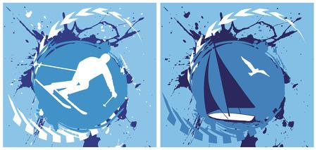 Mountainside: Ilustracje Niebieski narciarskie i jachtów backgrounds.Vector.
