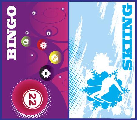 Mountainside: Ilustracje narciarskie w pionie i bingo banners.Vector.