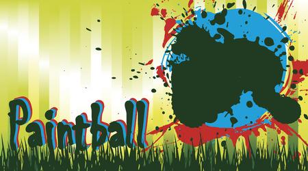 paint spray gun: Paintball field Illustration