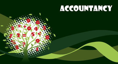 ledger: Green accountancy tree Illustration