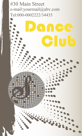 Vertical dance club business card Illustration
