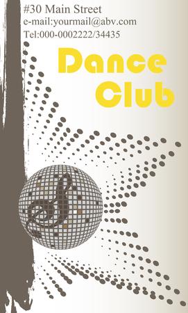 dance club: Vertical dance club business card Illustration
