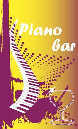 limelight: Piano bar.Vertical banner. Illustration