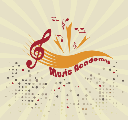 limelight: Music academy.Abstract staff and notes Illustration