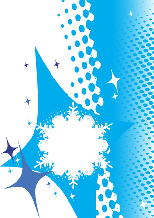 mountainside: Abstract white  snowflake with blue stars.Winter banner