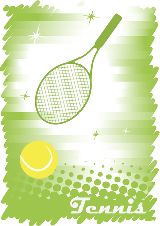 tennis court: Green tennis court with stars.Abstract tennis banner.Green background