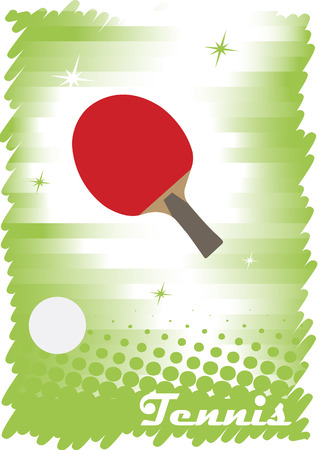table tennis: Green tabl tennis poster with stars.Abstract vertical banner