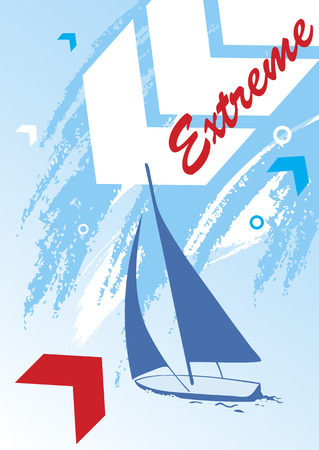 Abstract sea background with blue yacht.Extreme sport Illustration