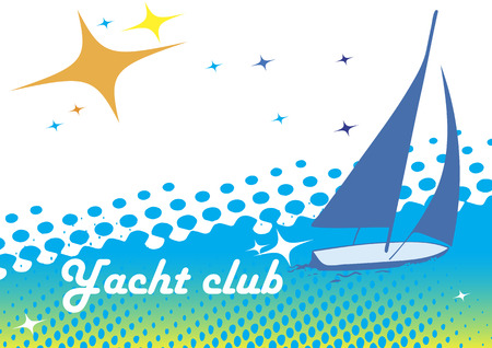 Abstract sea motive with orange sun.Yacht club banner.Blue background Illustration