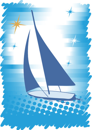 bruise: Big blue yacht with stars.Abstract sea motive.Blue background Illustration