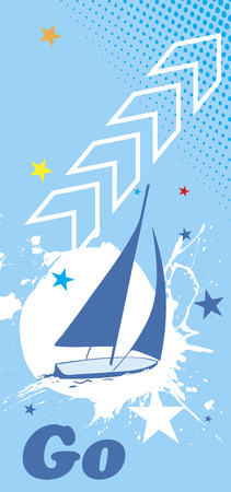 Blue sea background with white splash.Yacht vertical banner.Go to sailing
