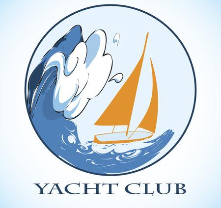 bruise: Orange yacht and big wave.Round sea motive.Yacht club emblem
