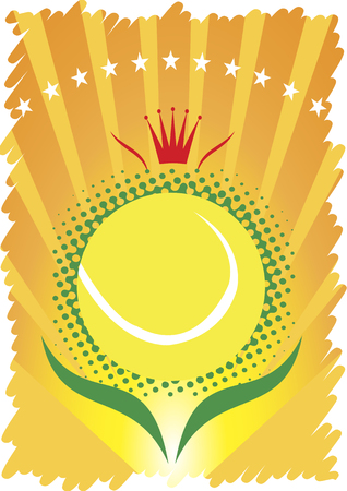 indoor court: Tennis ball with red crown and stars.Abstract tennis poster Illustration