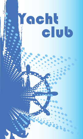 Abstract steering wheel of ship.Vertical yacht club banner