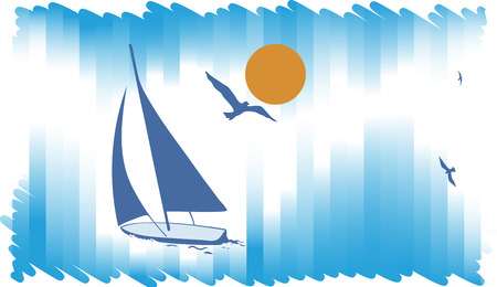 excursion: Intershot blue background with yacht.Abstract sea background