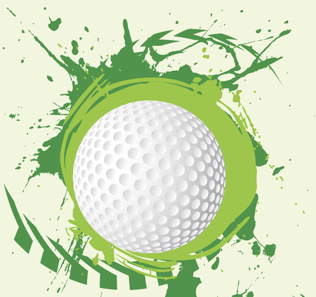 golf ball: Chapoteo colorido campo verde con el fondo de golf arrows.Abstract