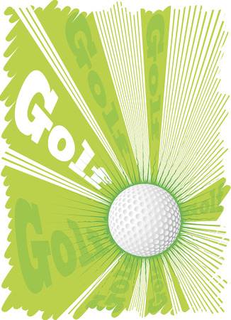 golf ball on tee: Super golf ball and big green explosion.Green background