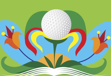 motive: Abstract colorful golf flower.Green golf motive
