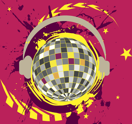 discoteque: Disco ball with headset.Colorful splash