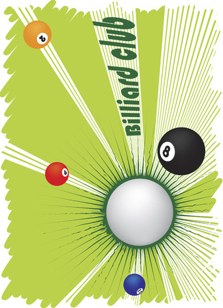 poolball: Billiard club banner with abstract green motive Illustration