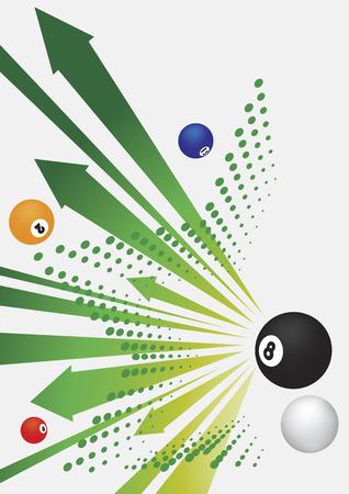 green arrows: Billiard green arrows and balls.Abstract billiard background