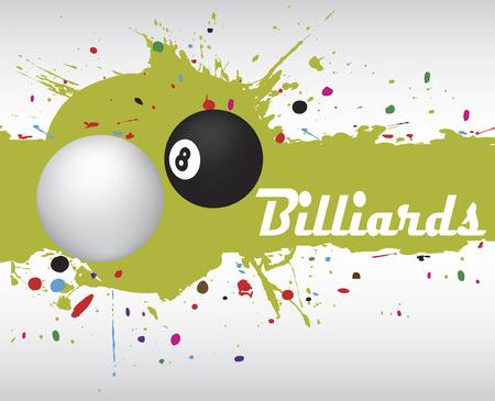 poolball: Abstract green billiard splash.Billiard background Illustration
