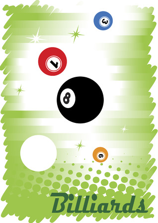 poolball: Abstract colorful billiard poster Illustration