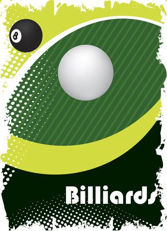 cue sticks: Green billiard eye.Poster background