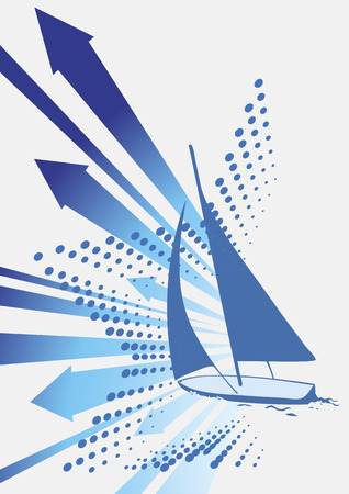 blue wind: Before the wind.Abstract blue wind with yacht and star Illustration