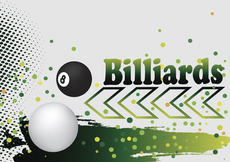 poolball: Abstract billiard background with green arow and  colorful dots Illustration