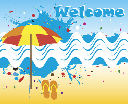 motive: Welcome banner with abstract sea motive
