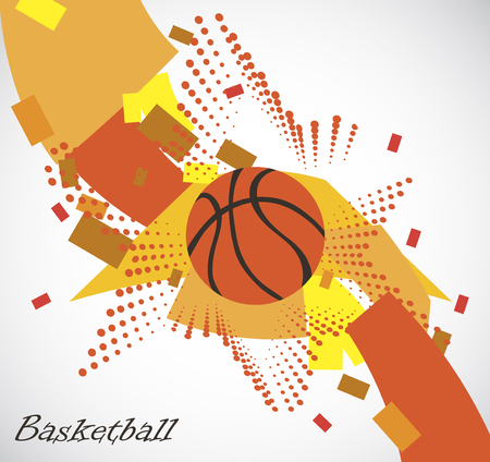 sport background: Abstract basketball playfield with star
