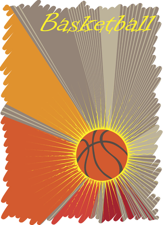 playfield: Basketball  poster with yellow sun