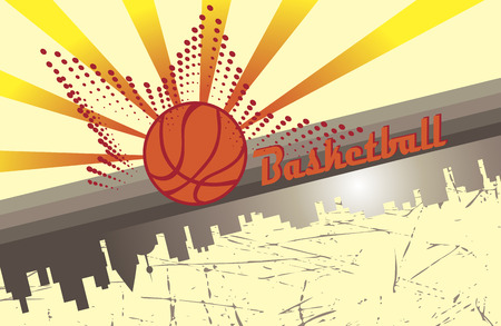 playfield: Basketball city.Abstract horizontal poster Illustration