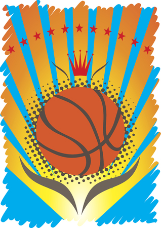 playfield: Basketball  poster with red crown and stars Illustration