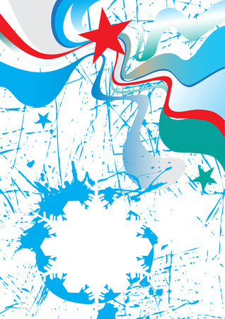 ice slide: Abstract vertical ski poster with blue snowflake