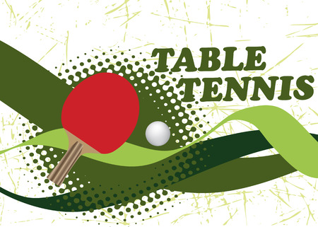 Abstract table tennis poster with green waves
